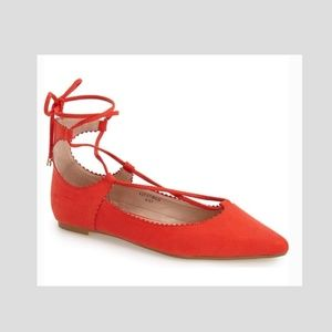 TOPSHOP red flats lace up